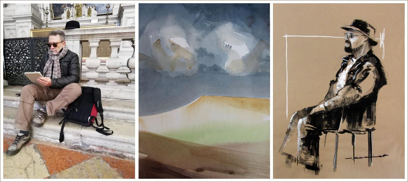 José Grimalt dibujando en Venecia , acuarela y dibujo